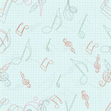Seamless pattern with musical notes. Stock Photo