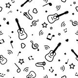 Seamless pattern musical notes and guitars Stock Photos
