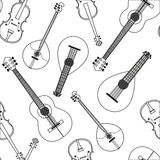 Seamless pattern with musical. Vector illustration Seamless pattern with musical string instruments. Black-and-white drawing line background acoustic Orchestra Royalty Free Stock Photo