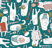 Seamless pattern with musician cats and music instruments in bright colors. Cats are playing on drum, accordion, tube, guitar. Vec Royalty Free Stock Images