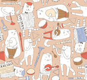 Seamless pattern with musician cats and music instruments in pastel colors. Cats are playing on drum, accordion, tube, guitar. Vec Royalty Free Stock Photos