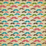 Seamless pattern with mustache. Seamless vector pattern, background or texture with colorful curly vintage retro gentleman mustaches. For hipster websites Royalty Free Stock Photos