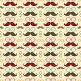 Seamless pattern with mustache. Seamless vector pattern, background or texture with colorful glasses and curly vintage retro gentleman mustaches. For hipster Royalty Free Stock Photo