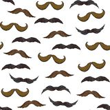Seamless pattern with mustache on white background vector illustration