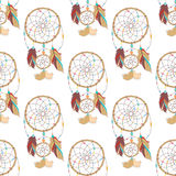 Seamless pattern of mysterious and magical indian ojibwe dreamcatcher.. Tribal paganism totem symbol for superstition about sleep. Traditional american symbol Royalty Free Stock Photos