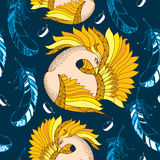Seamless pattern with Mythological Firebird and decorative feathers. Legendary bird with golden feathers. Slavonic epos. The series of mythological creatures Royalty Free Stock Image