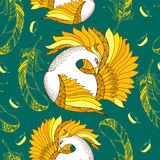 Seamless pattern with Mythological Firebird and feathers Stock Image