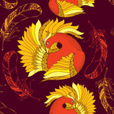 Seamless pattern with Mythological Firebird and ornate feathers. Royalty Free Stock Photography