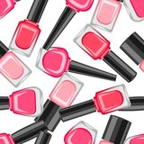 Seamless pattern with nail polishes. Fashionable illustration for manicure salons Stock Illustration