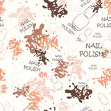 Seamless pattern with nail varnish for text and spilled paint.  Royalty Free Stock Images