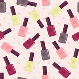 Seamless pattern with nail varnishes. Flat seamless pattern with nail  varnishes Royalty Free Stock Image