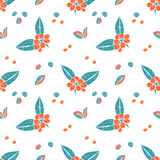 Seamless pattern in naive lino style, coffee Stock Image
