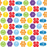 Seamless pattern with names of chakras in Sanskrit Royalty Free Stock Photo