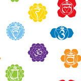 Seamless pattern with names of chakras in Sanskrit Stock Photo