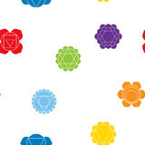 Seamless pattern with names of chakras in Sanskrit Royalty Free Stock Photography