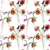 Seamless pattern with Narcissus and Dandelion flowers Royalty Free Stock Photos