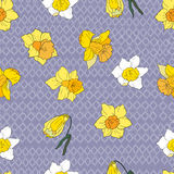 Seamless pattern with narcissus. Seamless pattern with decorative flowers stock illustration