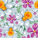 Seamless pattern with narcissus and iris Stock Images