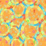 Seamless pattern natal astrological chart, zodiac signs. vector. Seamless pattern natal curved astrological chart, zodiac signs orange vector illustration Stock Photo