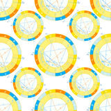 Seamless pattern natal astrological chart, zodiac signs. vector Royalty Free Stock Images