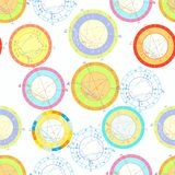 Seamless pattern natal astrological chart, zodiac signs. vector. Seamless pattern colored of natal astrological charts. vector illustration Royalty Free Stock Photo