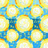 Seamless pattern natal astrological chart, zodiac signs. vector Stock Photo