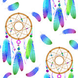 Seamless pattern with native Indian-American dream catcher. Stock Photography