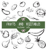 Vector set of hand drawn vintage fresh fruits and vegetables Royalty Free Stock Images