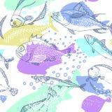 Seamless pattern of nature sea fish. Vector royalty free illustration