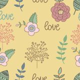 Seamless pattern nature with sign dlowers. Vector Royalty Free Stock Photography