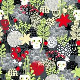 Seamless pattern with nature and skulls. Stock Image