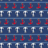 Seamless pattern with nautical anchors Stock Photo