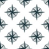 Seamless pattern with nautical compasses Royalty Free Stock Photo