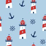 Seamless pattern with nautical design elements stock illustration