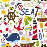 Seamless pattern with nautical element. Vector illustration, eps Stock Image