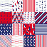Seamless pattern with nautical elements. Pattern set Royalty Free Stock Images