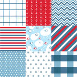 Seamless pattern with nautical elements. Seamless pattern set with nautical elements Royalty Free Stock Image