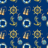 Seamless pattern with nautical elements,  on dark blue background. Old sea binocular, lifebuoy, antique sailboat steering. Wheel, ship anchor. Watercolor hand Stock Photo