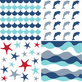 Seamless pattern with nautical elements. Digital scrapbook Royalty Free Stock Photo