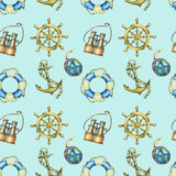 Seamless pattern with nautical elements, isolated on pastel turquoise background. Old binocular, lifebuoy, antique sailboat steeri. Ng wheel, ship anchor Royalty Free Stock Image