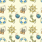 Seamless pattern with nautical elements, isolated on pastel yellow background. Old  binocular, lifebuoy, antique sailboat steering. Wheel, ship anchor Stock Image