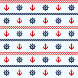 Seamless pattern with nautical elements Stock Images