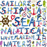 Seamless pattern of nautical words. Illustration, eps Stock Photos