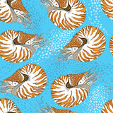 Seamless pattern with Nautilus Pompilius or chambered nautilus on the blue background with bubbles. Royalty Free Stock Photo