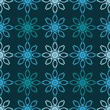 Seamless pattern with neon snowflakes on a dark background. Celebratory background. Royalty Free Stock Photos