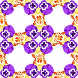 Seamless pattern net flowers yellow violet pansies. vector  Stock Photos