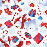 Seamless pattern with New Year and Christmas attributes. Background for gift paper. vector illustration