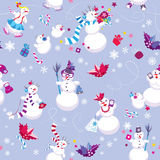 Seamless pattern for New Year or Christmas holiday. Design. Winter background with cute snowmen Royalty Free Stock Photo