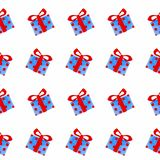 Seamless pattern with New Year gift boxes.  vector illustration