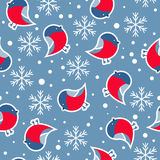Seamless pattern. New Year's background. New Year's background with the image of bullfinches. Seamless pattern vector illustration